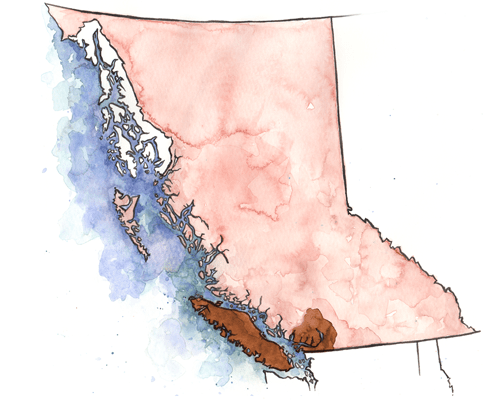 Watercolour map of British Columbia, by Kaleigh Bulford.