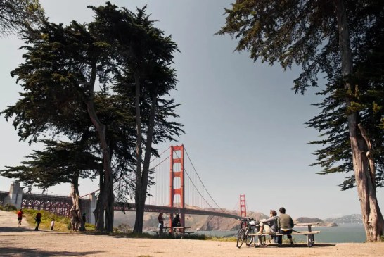 Relaxing at a picnic area overlooking the Golden Gate Bridge