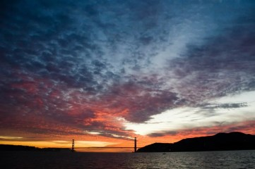 Dramatic sunset over the Golden Gate Bridge