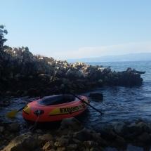 Bateau de Liam dans notre crique en Croatie