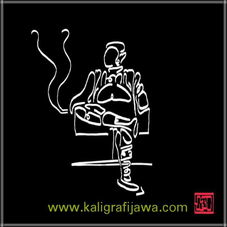 kaligrafi aksara jawa gambar orang duduk
