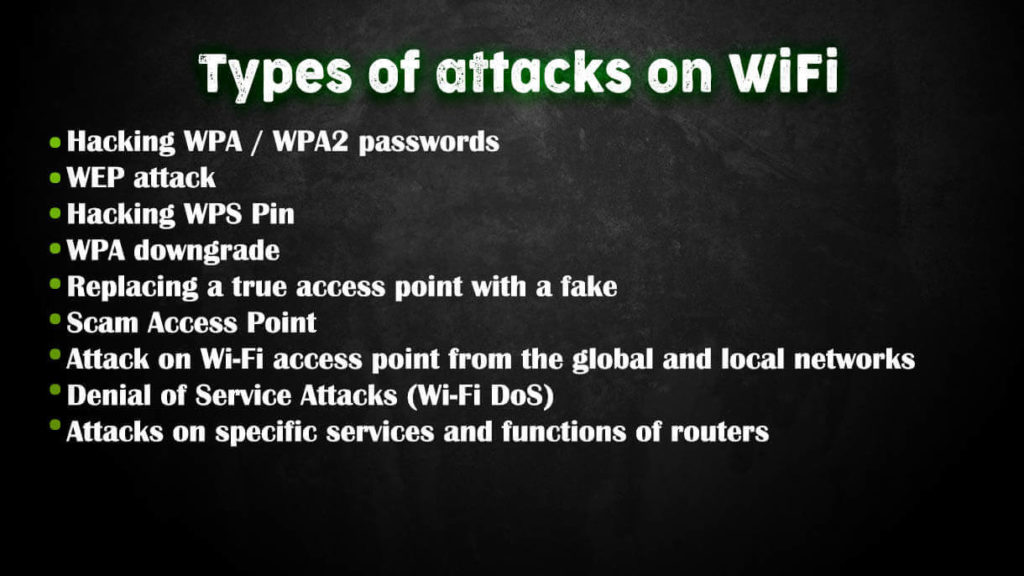 Types of wifi attacks
