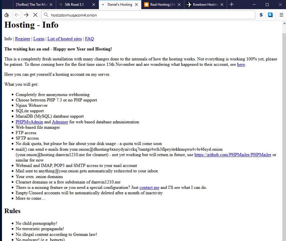 Darknet WebHosting