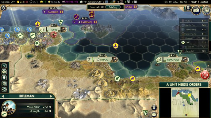 Civilization 5 Scramble for Africa Ottoman Deity Turn 10