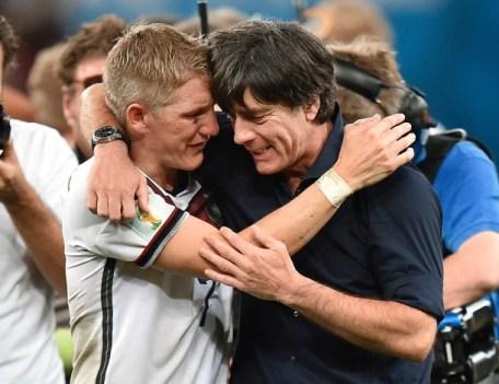 Schweinsteiger with Loew after winning the Worldcup Final 2014