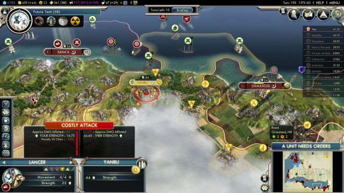Civilization 5 Into the Renaissance England Deity Ayyubid Cities
