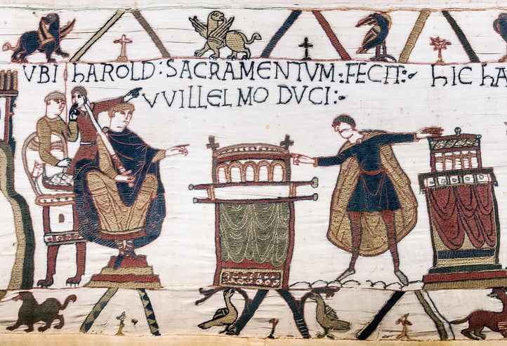 Bayeux Tapestry - Scene 23: Harold swearing oath on holy relics to William, Duke of Normandy.