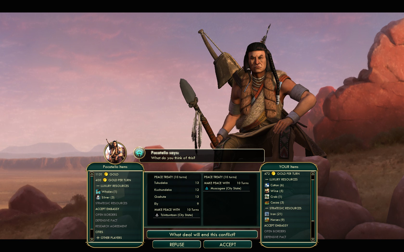 Civilization 5 Conquest of the New World Netherlands Deity - Peace with Shoshone