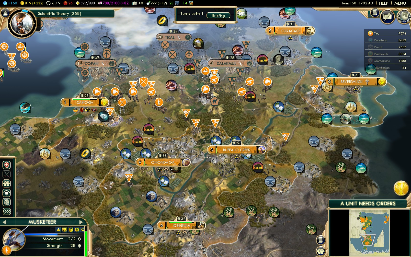Civilization 5 Conquest of the New World Netherlands Deity - South America