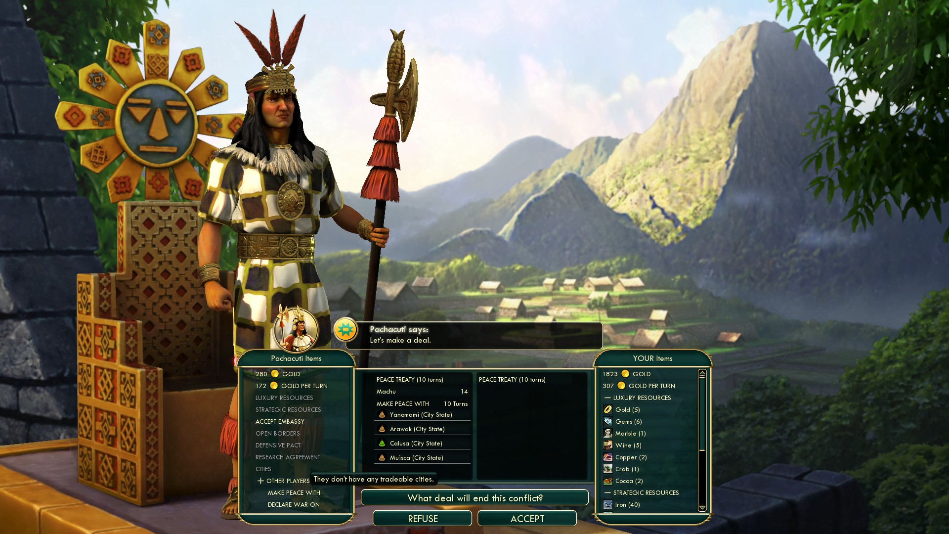 Civilization 5 Conquest of the New World Portugal Deity - Incas last city