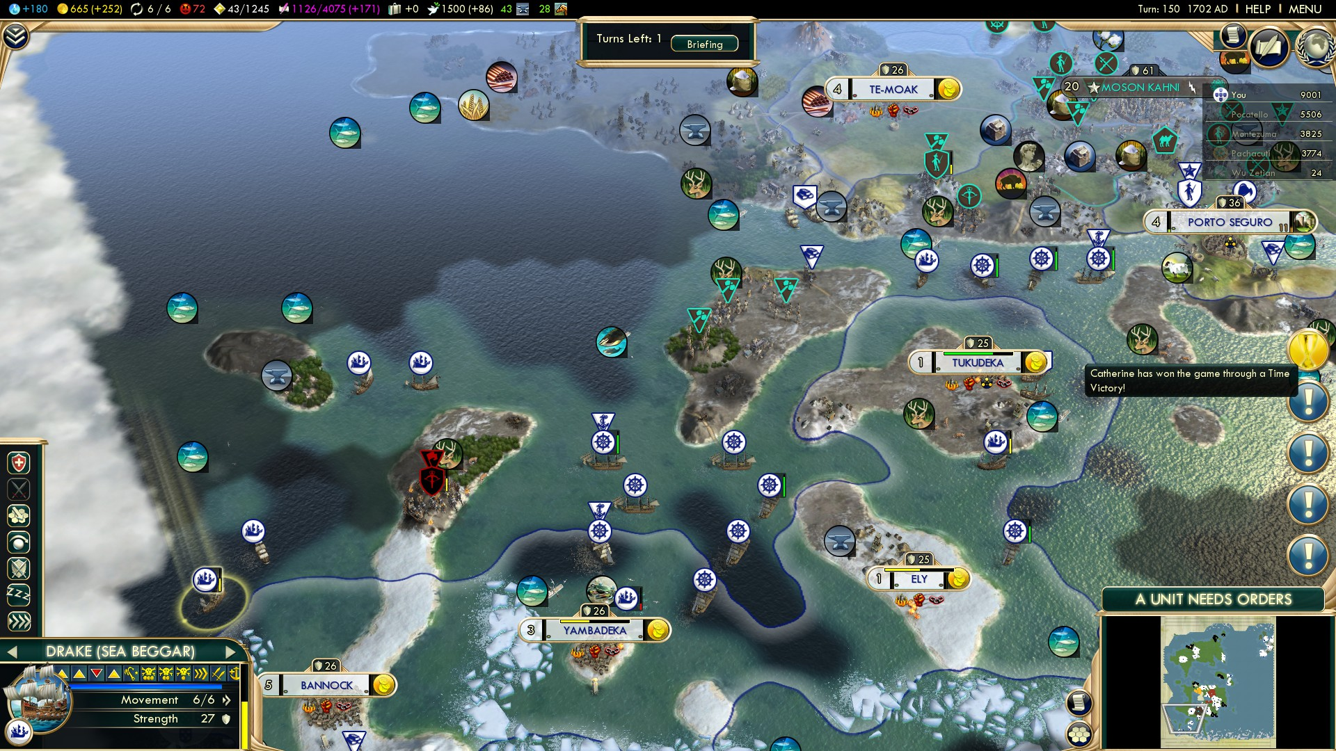 Civilization 5 Conquest of the New World Portugal Deity - South America 1