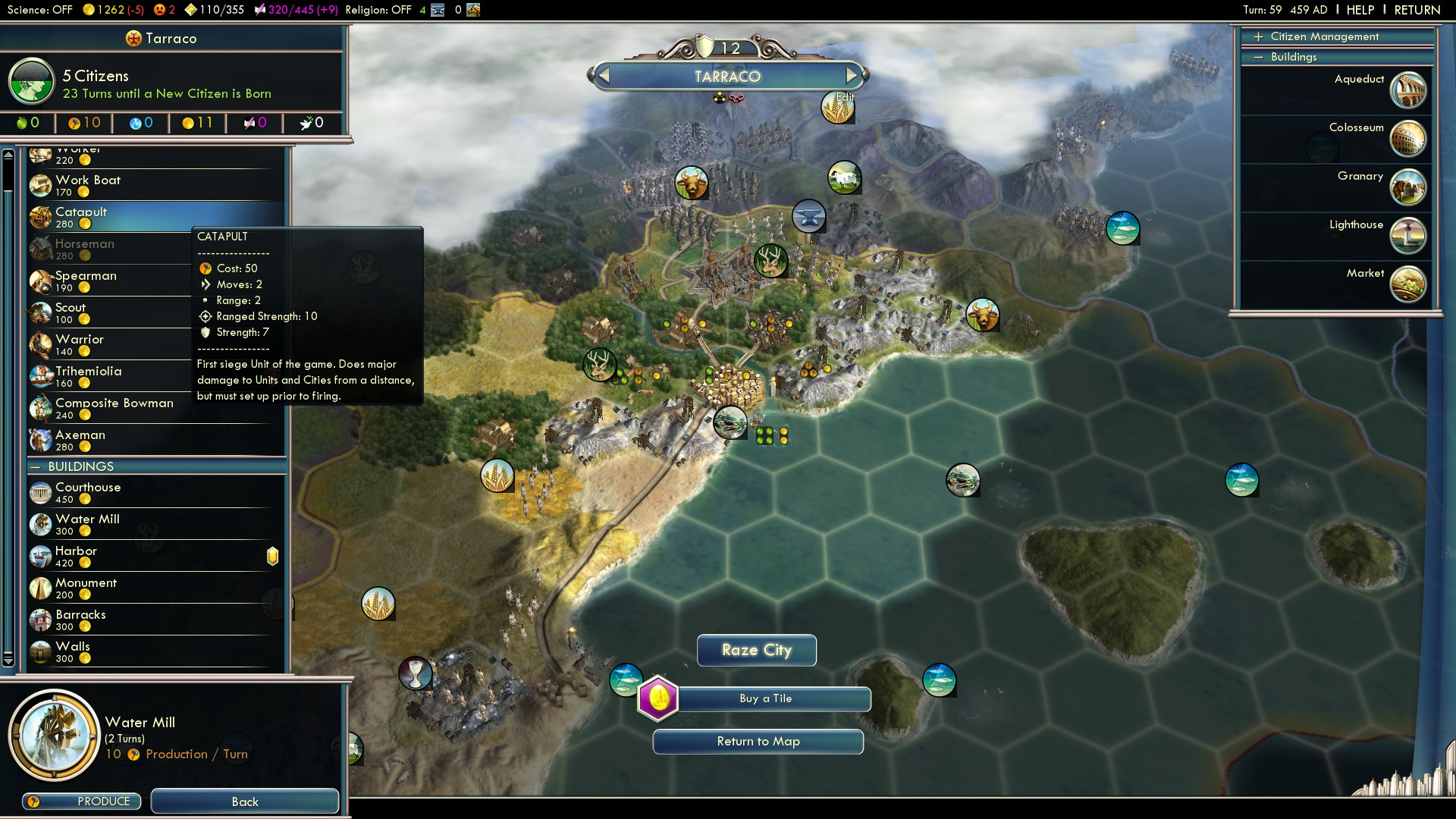 Civilization 5 Fall of Rome Vandals Deity - Buy some Catapults