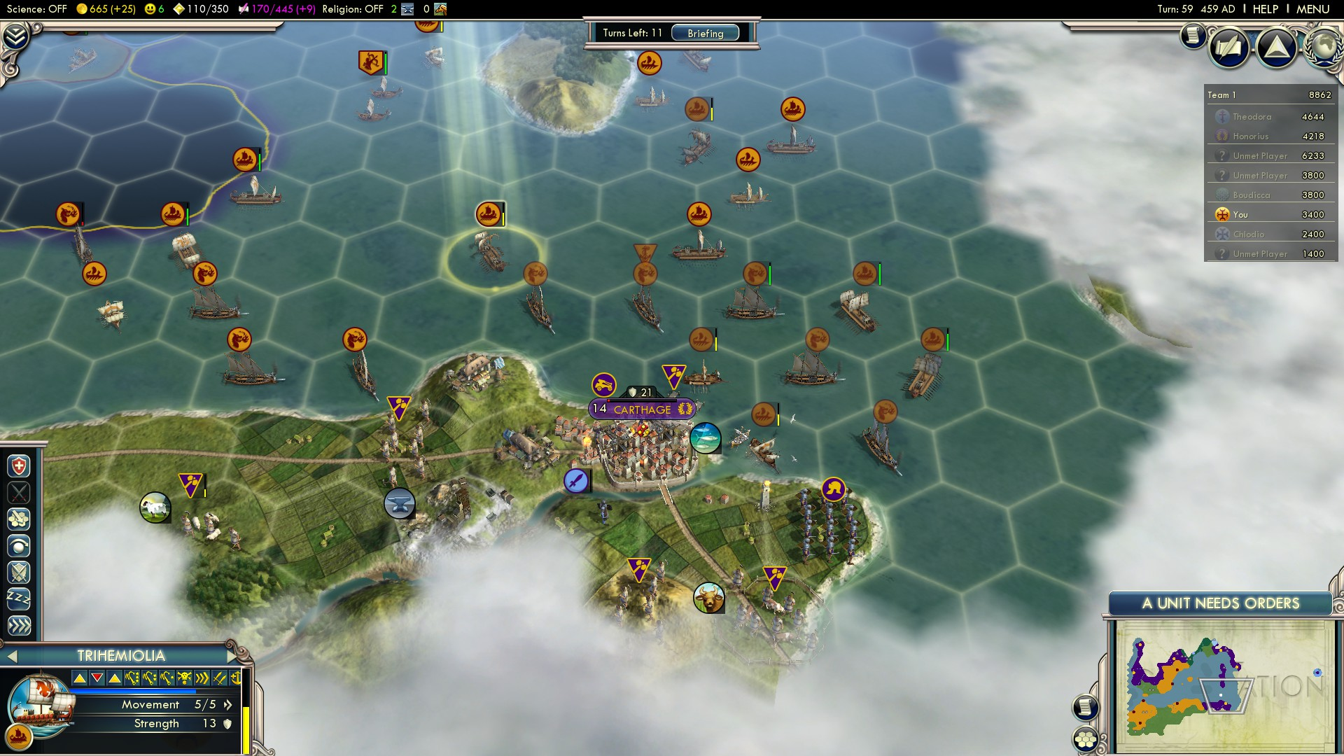 Civilization 5 Fall of Rome Vandals Deity - Carthage turn 59