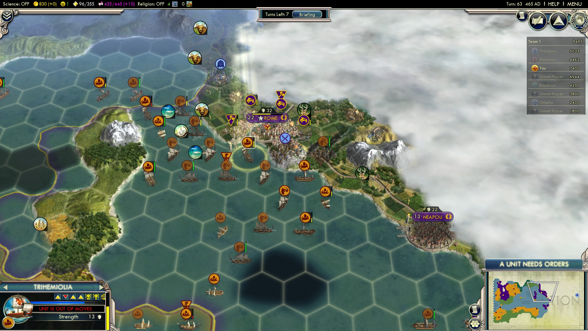 Civilization 5 Fall of Rome Vandals Deity - Naval Siege of Rome