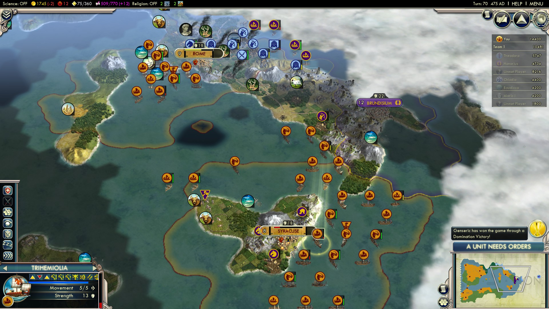 Civilization 5 Fall of Rome Vandals Deity - Italy