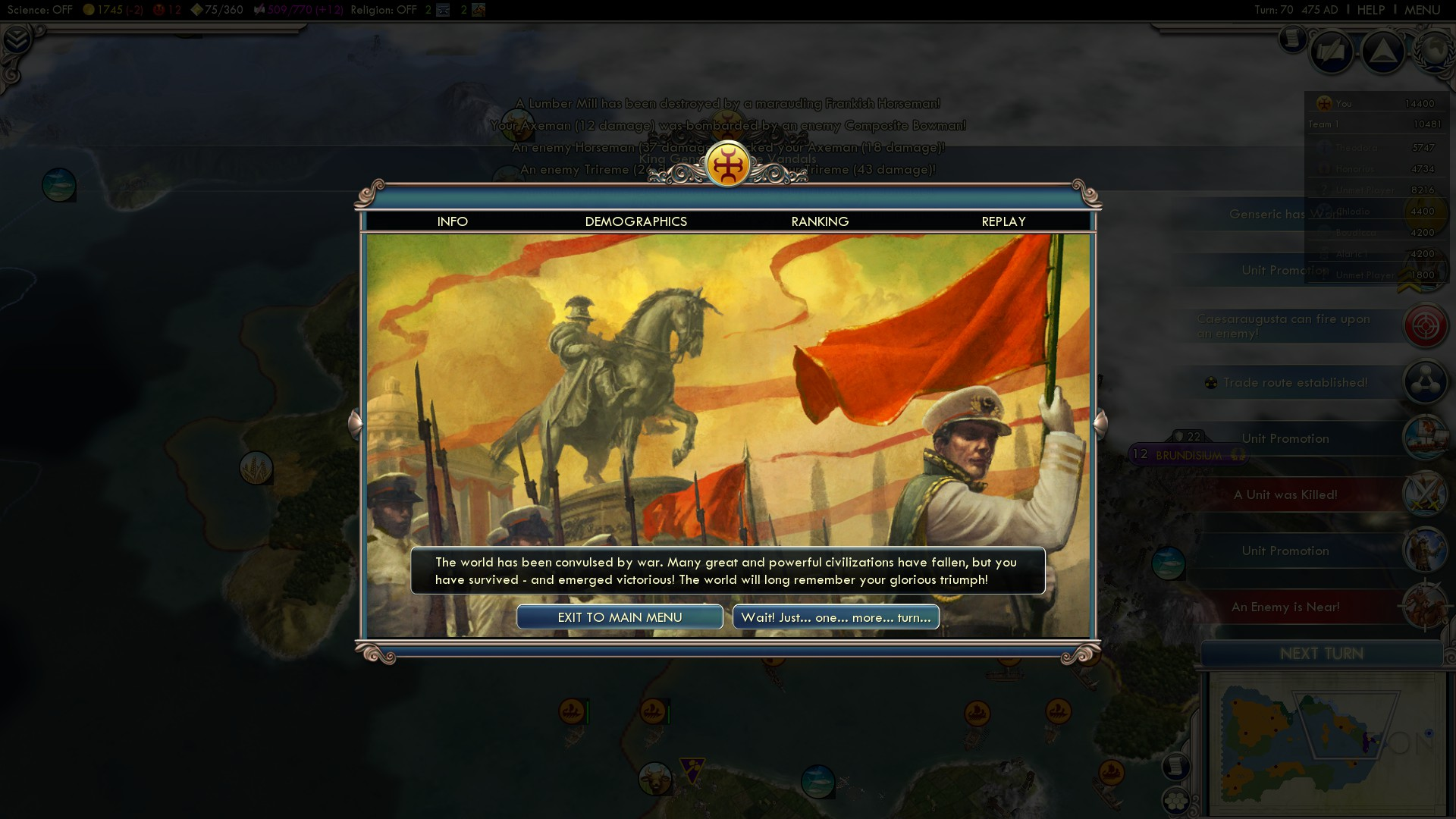 Civilization 5 Fall of Rome Vandals Deity - Victory