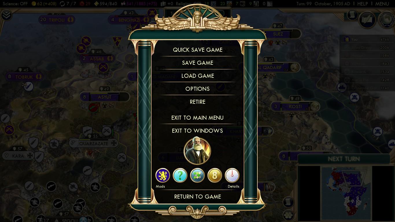 Civilization 5 Scramble for Africa - Belgium Deity 99 - Winning