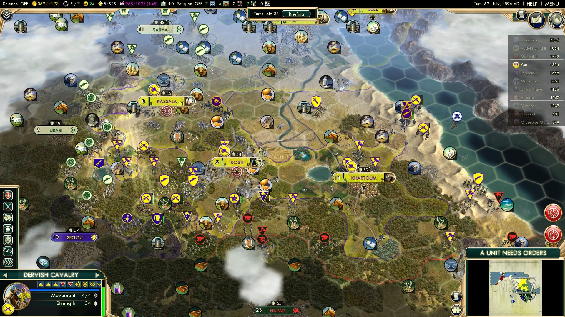 Civilization 5 Scramble for Africa Egypt Deity - Southern Front