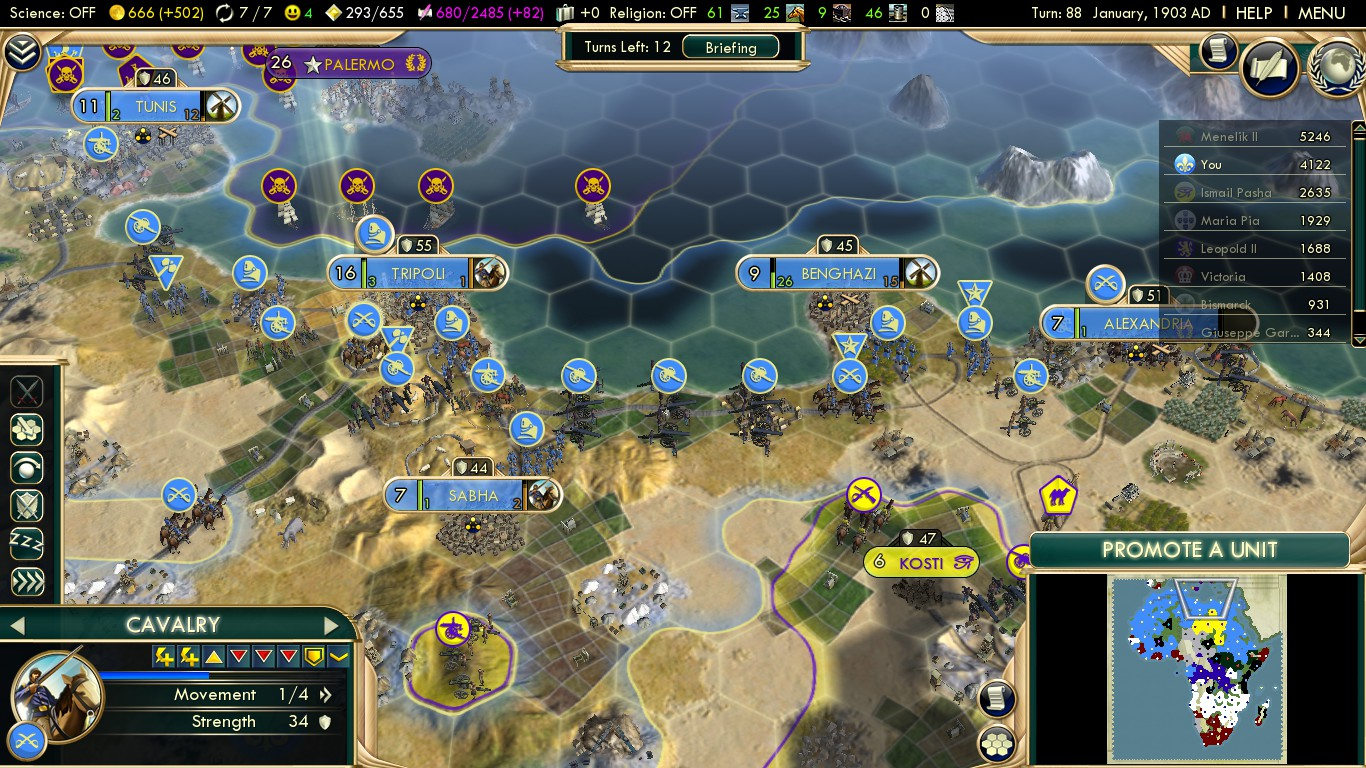 Civilization 5 Scramble for Africa France Deity - Reinforcements queueing