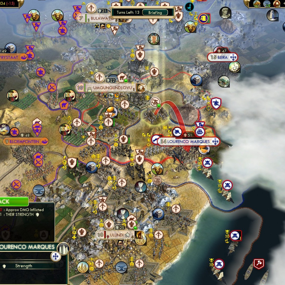 Civilization 5 Scramble for Africa Zulu Deity - Turning the tides on Portugal