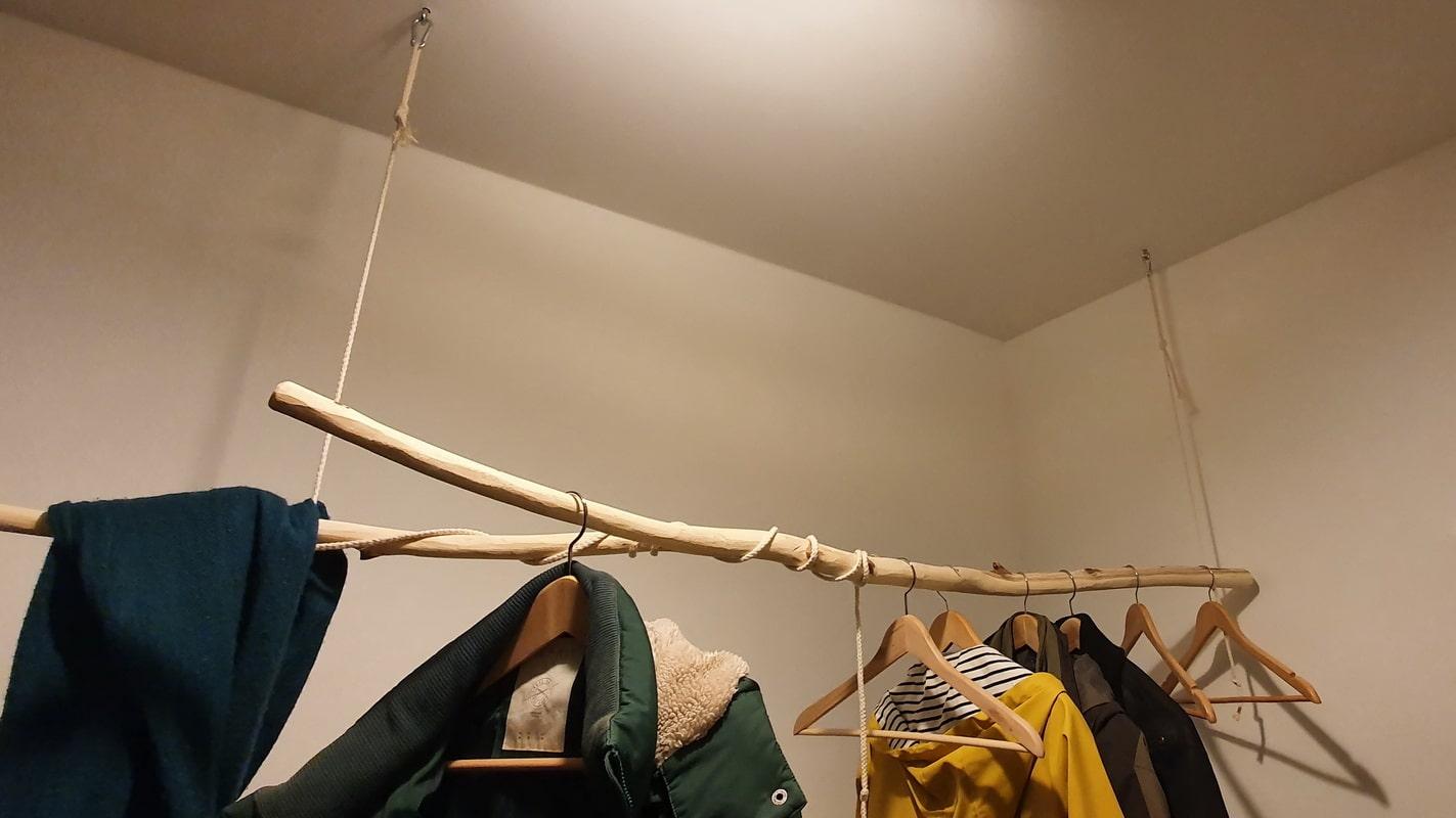 DIY Wardrobe rail Wood