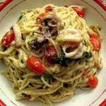 Spaghetti With Squid and Artichicoke Cream