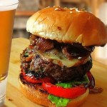 Grilled Lamb Burger With Smoked Cheese, Caramelized Onion & Fig Jam