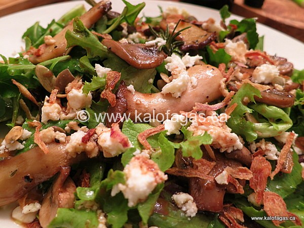 Warm Mushroom Salad With Feta & Crispy Onions