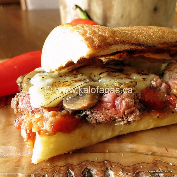 Steak Sandwich With Talstenes, Mushrooms & Graviera