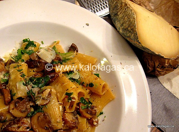 Rigatoni With Mushrooms & Cheese