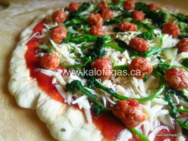 Pizza With Rapini & Italian Sausage