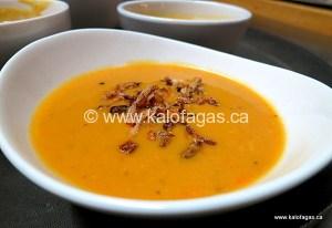 Purée of Red Lentil Soup With Crispy Onions