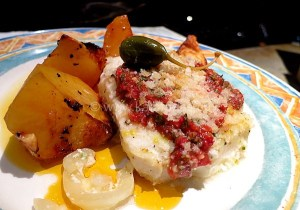 Roast Cod With Tomato Caper Topping