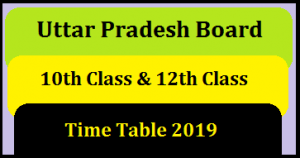 UP Board Exam Time Table 2019