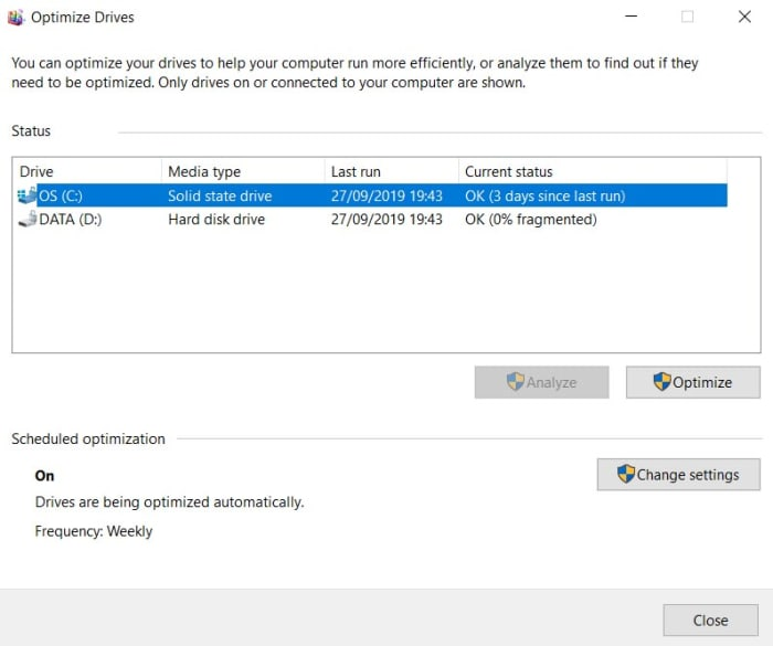 Windows 10 Defrag hard drive