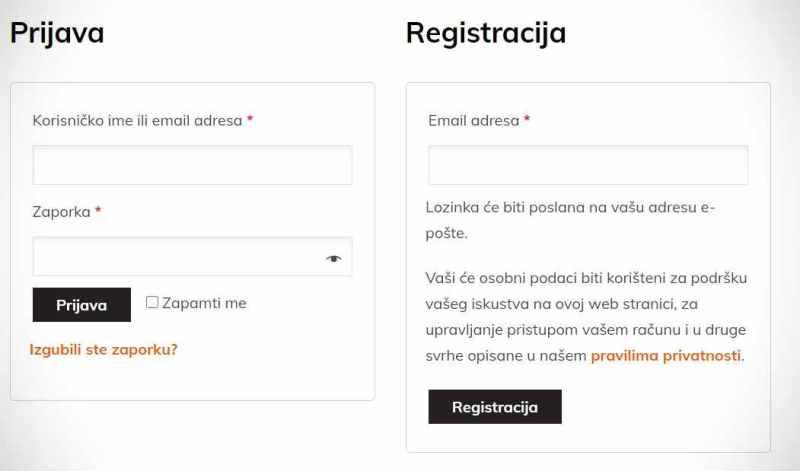 Kamado Chef Roštilj web shop registracija ili prijava korisnika