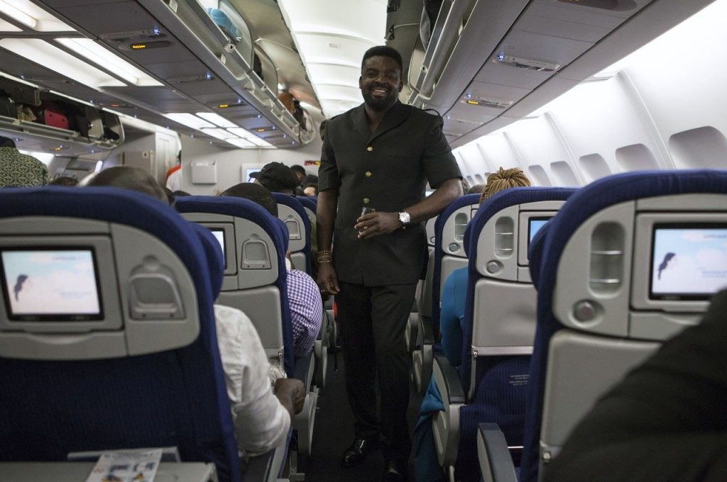 Kunle Afolayan abroad the Air France flight for the initial premiere of the movie