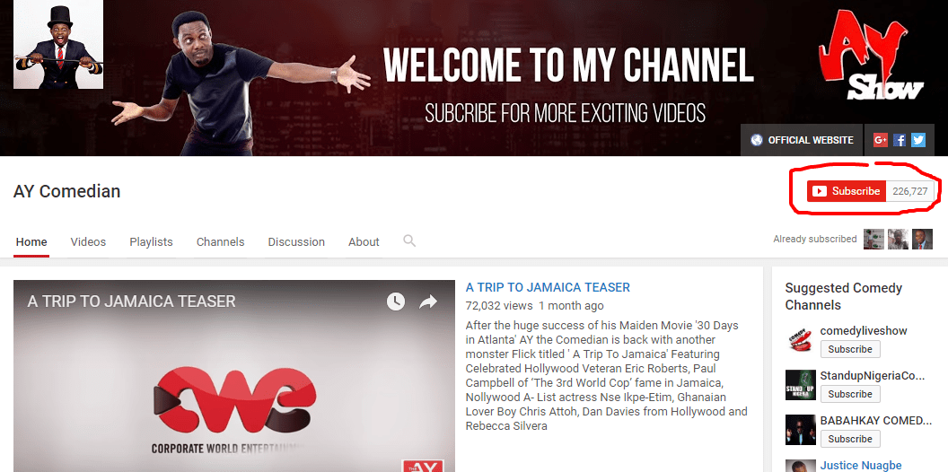 A screenshot of AY's YouTube channel highlighting his current number of subscribers