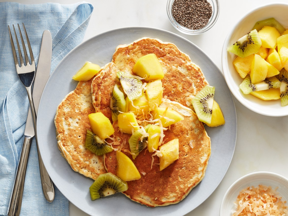 Food Network Kitchen's Year of Pancakes, January, Oat and Chia Seed Pancakes with Mango, Pineapple and Kiwi