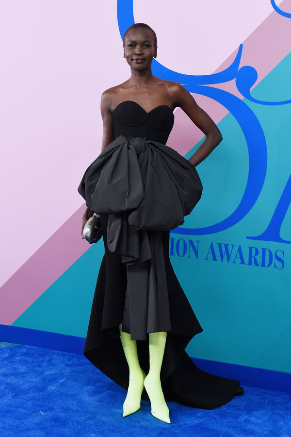 NEW YORK, NY - JUNE 05:  Model Alek Wek attends the 2017 CFDA Fashion Awards at Hammerstein Ballroom on June 5, 2017 in New York City.  (Photo by Presley Ann/Patrick McMullan via Getty Images)