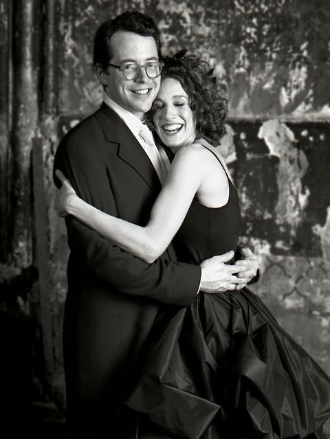 When she wed actor Matthew Broderick in May 1997, the actress opted to match her fiance's black black-tie tuxedo with a black Morgan Le Fay wedding gown.