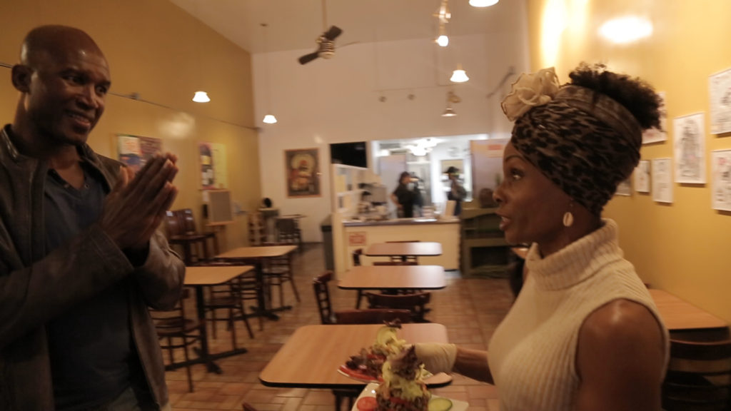 Kayode with Babette Davis celebrated Vegan chef at her resturant 2