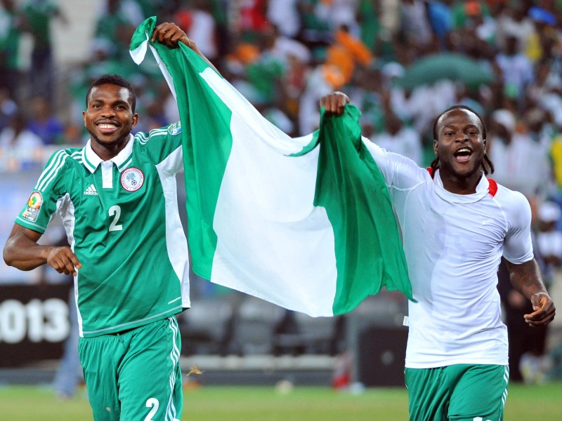 Joseph Yobo and Victor Moses of Nigeria celebrates during the Final 2013 Orange Africa Cup of Nations match between Nigeria and Burkina Faso on the 10th February 2013 at National Stadium in Johannesburg  ©Samuel Shivambu/BackpagePix