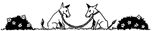 Line drawing of two donkeys facing each other