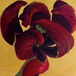 Marsala red painted tulip, contemporary painting by Kamille Saabre