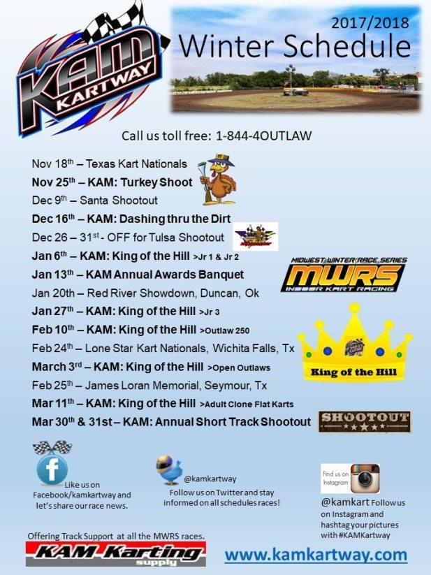 2017/2018 Winter Schedule for KAM Kartway