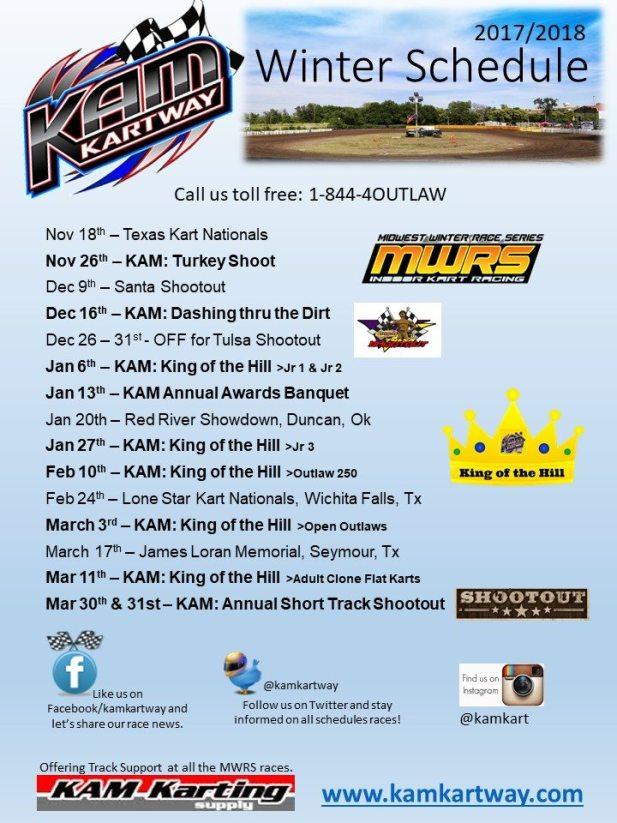 KAM Kartway Winter schedule