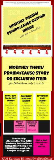 KAM Kartway eNewsletter with Sample Ad Opportunities