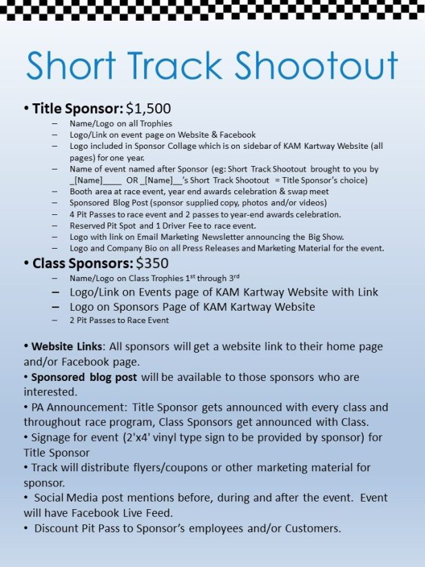 Short Track Shootout Sponsorship Opportunities