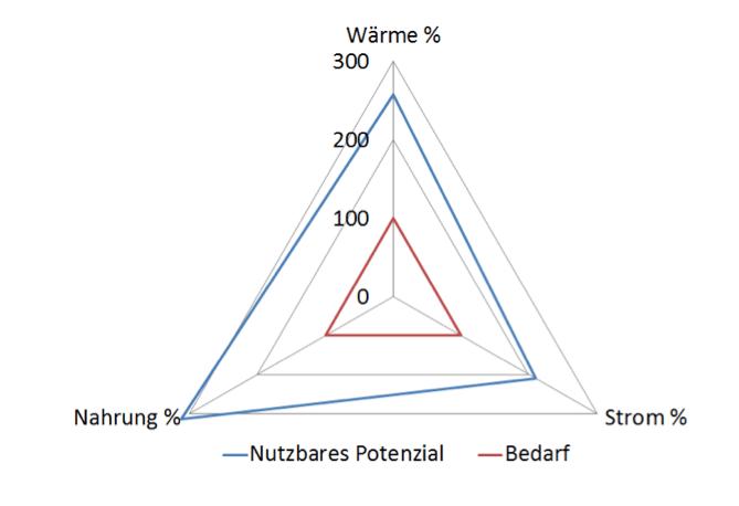 Abbildung 2: Gemeinde Kammern, Energiebedarf (rot) und nutzbares Energiepotential (blau) für die Bereiche Strom, Wärme und Nahrung